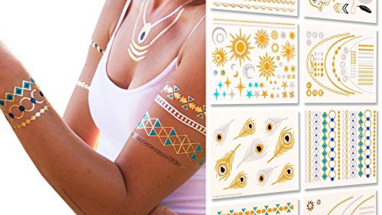 Temporäre Metallic Tattoos 150 Gold Tattoo Silber Tattoo