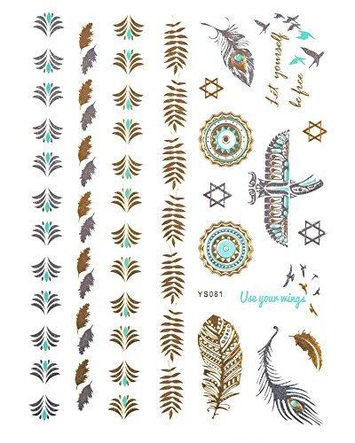 Gold Tattoo Flash Tattoos Haut Tattoosfedern Vögel